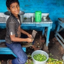 Boy Cutting Vegetables