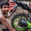 Man And A Rear Wheel