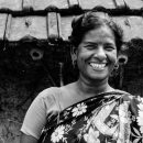 Laughing Woman With A Floral Saree