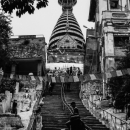 Steep Stairway Up To A Stupa