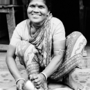 Woman Wearing A Saree Smiled