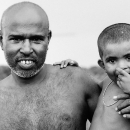 Shaven-bald Father And His Son