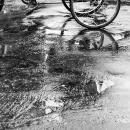 Cycle Rickshaw On The Wet Road Surface
