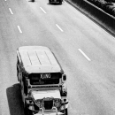 Jeepney On A Six-lane Road