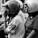Two Helmets On A Motorbike