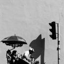 漕ぐ男と信号機