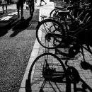 Bicycles In Front Of A Cafe