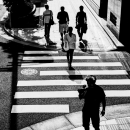 Silhouettes And Pedestrian Crossing
