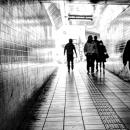 薄暗い通路を蠢く人影