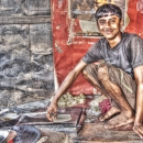 Man Baking Chapati @ India