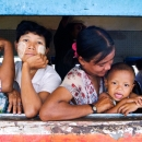 Baby By The Window Of A Train @ Myanmar