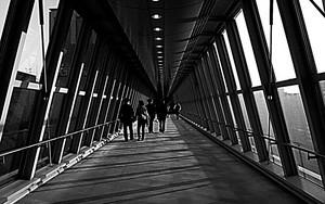 廊下を往く人々