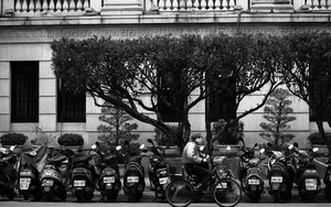Bicycle Running Beside Motorbikes