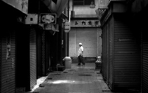 Man Walking The One-time Busy Street
