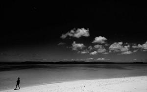 Silhouette On Nishihama Beach