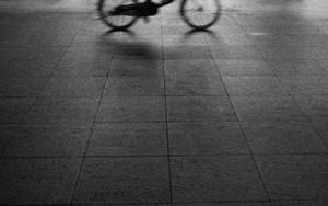 夜道の自転車