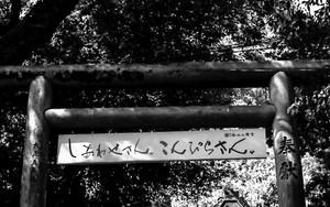 鳥居に掛かる横断幕