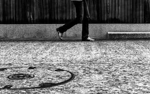Thin Legs Of A Walking Woman
