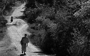 僧侶が砂利道を歩いてきた