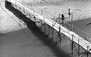 籠の上の雌鳥と竹で出来た橋