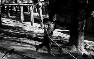 Boy Runs With A Long Pole In The Shade