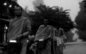 Monks Walking For The Morning Alms
