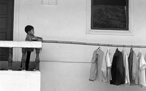 ベランダにいた男の子と物干し竿