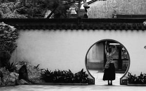 Circle And Woman In Yuyuan Garden