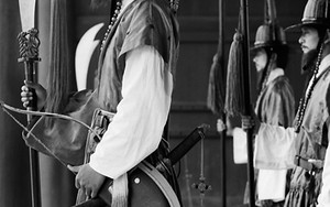 Re-enactment Guards Shutting Eyes Silently