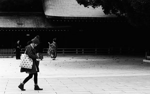 Girl Walking In The Shrine