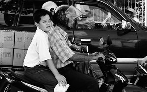 Father And Son On The Motorbike