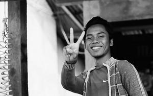 Peace Sign Of A Young Man