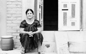 Woman, Vase And Opened Door