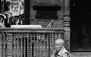 Old Man With A Prayer Wheel