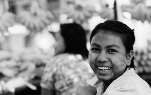 Smiling Female Street Vendor