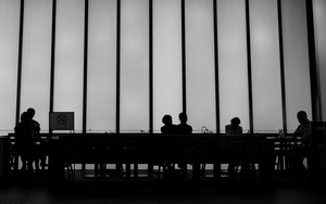 Silhouettes In A Cafe