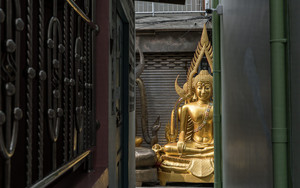 Buddha Statue At End Of Lane