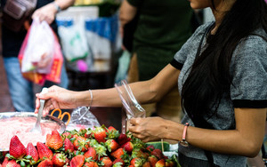 Woman Selling Strawberry