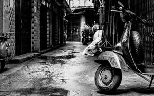 Motorbike Parked In Deserted Lane