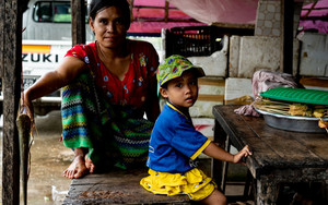 Parent And Child In Food Stall