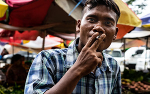 Man Gazing While Smoking