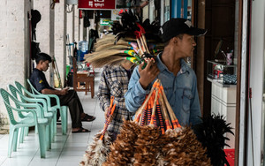 Man Peddling Various Brooms