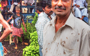 Man In The Banana Auction Market