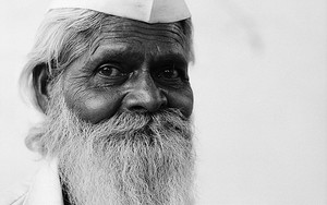 Long Gray Beard And Gandhi Cap
