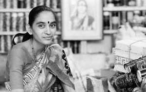 Woman Wearing A Saree In A Shop