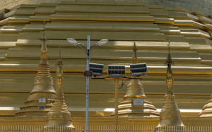 Umbrella In Front Of Shwemawdaw Pagoda