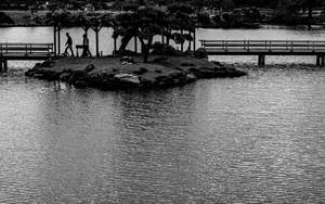 小島の上のシルエット