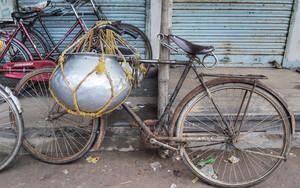 容器の付いた自転車