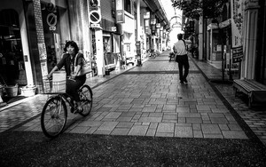 Bicycle In A Shopping Arcade In Tsuyama
