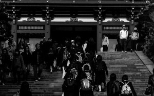 School Girls Climbing The Stairway To The Shrine